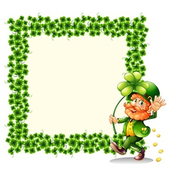 A man holding a clover leaf beside a frame made of vector