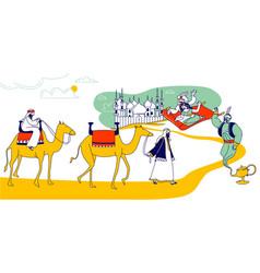 Arabian fairytale concept fantasy personages vector