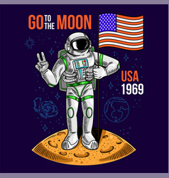 Astronaut hold american flag vector