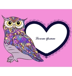 Background with owl and heart shape banner vector