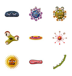 Bacteria icons set cartoon style vector