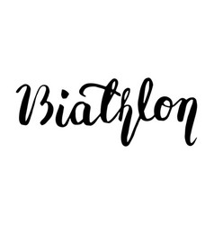 Biathlon black lettering text vector