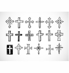 Big set of doodle sketch crosses on white vector