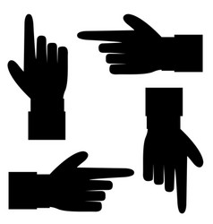 black silhouette of hand with showing in various vector image