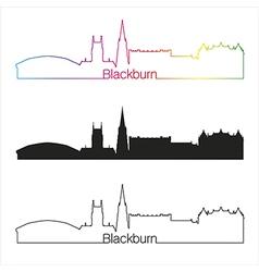 Blackburn skyline linear style with rainbow vector image