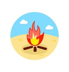 Bonfire icon summer vacation vector