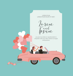 bride and groom in convertible car with balloons vector image