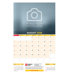 Calendar planner template for 2018 year august vector
