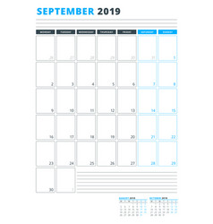 Calendar template for september 2019 business vector