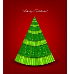 Christmas red background with green tree vector