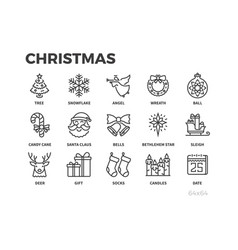 christmas thin line icons holiday gifts vector image