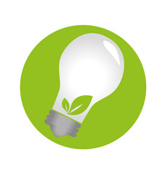 circular emblem with bulb light with leaves vector image