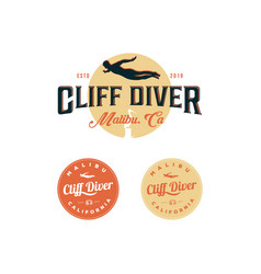 cliff diving logo inspirations t shirt restaurant vector image