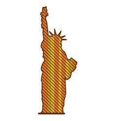 color silhouette of statue of liberty with vector image