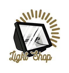 Color vintage light shop emblem vector
