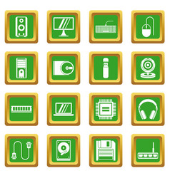 Computer icons set green vector