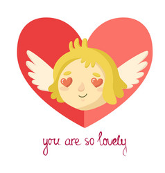 cute cartoon cupid with lettering and hearts vector image