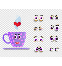 Cute emoji set of pink cup with changeable eyes vector