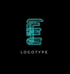 Cyber letter e for digital technology logo concept vector