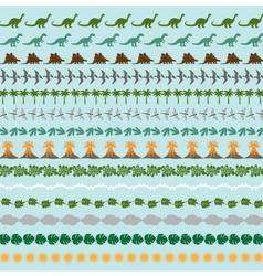Dinosaur border patterns vector