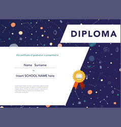 diploma template for kids space background vector image