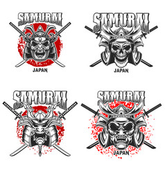 Emblem template with samurai helmet and crossed vector