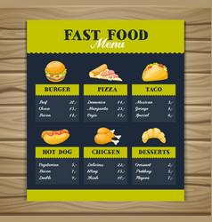 Fast food restaurant menu template vector