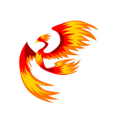 Flaming phoenix bird flying bright mythical vector