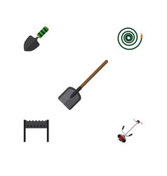 Flat icon dacha set of hosepipe grass-cutter vector