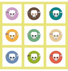 Flat icons Halloween set of Skull and arrow vector