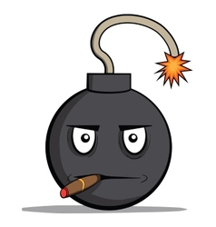 Funny cartoon bomb with cigar vector image