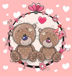 Greeting card with two cute cartoon bears vector