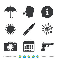 gun weapon knife umbrella and photo camera vector image