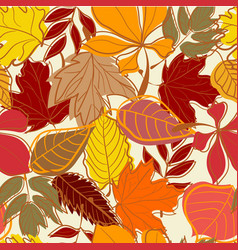 hand drawn autumn leaves seamless background vector image