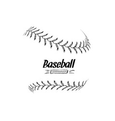 hand-drawn baseball ball isolated on white vector image