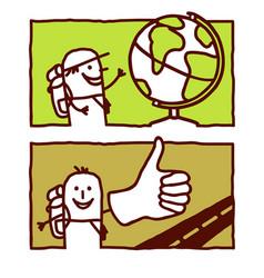 hand drawn cartoon characters - globe trotter vector image