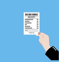 Hand holding receipt vector