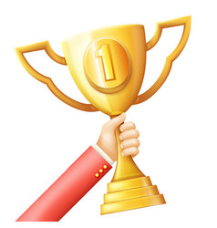 hand raises golden prize award cup success vector image