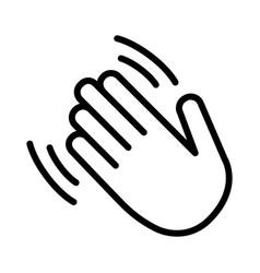 Hand wave or waving hello line icon vector