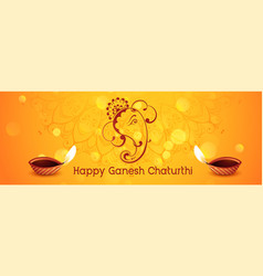 happy ganesh chaturthi festival banner with diya vector image