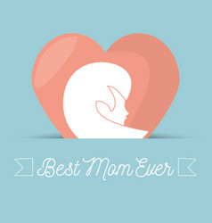 Happy mothers day card woman heart figure vector