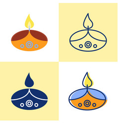 holiday diwali candle icon set in flat and line vector image