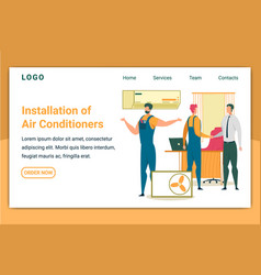 Installation air conditioners horizontal banner vector