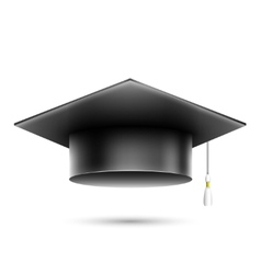 Isolated Realistic Black Student Hat vector image