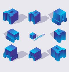 isometric alphabet font russian letter d 3d vector image