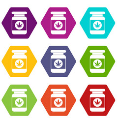 jar of powder marijuana icon set color hexahedron vector image
