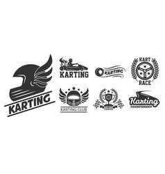 karting extreme driving sport isolated icons vector image