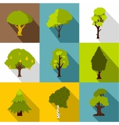 Kind of trees icons set flat style vector