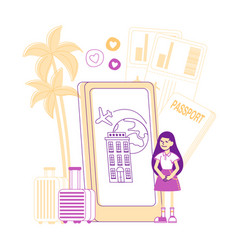 little girl stand near huge smartphone with vector image
