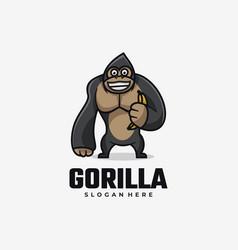 Logo gorilla simple mascot style vector